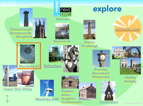 Rotherham visual index of great places to excercise, work and explore